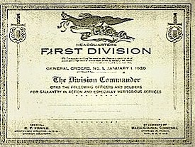 Army First Division Citation